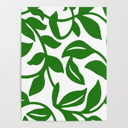 PALM LEAF VINE SWIRL IN GREEN AND WHITE Poster