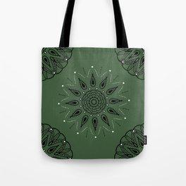 Central Mandala Jade Green Tote Bag