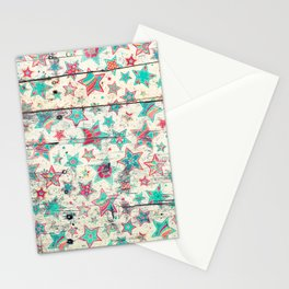 Grunge Stars on Shabby Chic White Painted Wood Stationery Cards