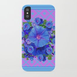 Baby Blue-Lilac Pattern Morning Glories Art iPhone Case