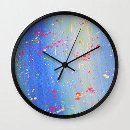 Blue Neon Paint Splatter Wall Clock