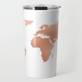 World Map Rose Gold Bronze Copper Metallic Travel Mug