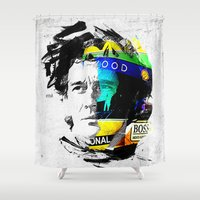 senna Shower Curtains featuring Ayrton Senna do Brasil - White & Color Series #4 by Universo do Sofa - Artes & Etecetera