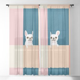 Little_French_Bulldog_Love_Minimalism_001 Sheer Curtain