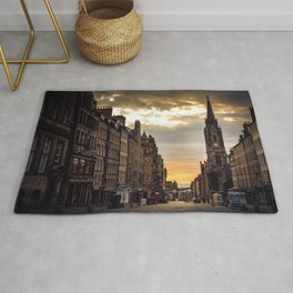 Royal Mile Sunrise in Edinburgh, Scotland Rug