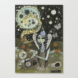 Moth Girl Singing to the Moon Canvas Print