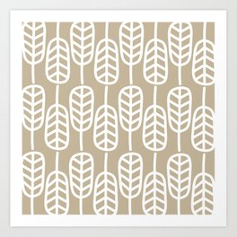 Feather Leaves Minimalist Pattern in White and Neutral Flax Art Print