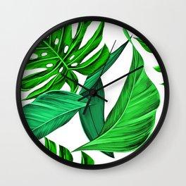 leaves tropical monstera summer Wall Clock