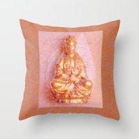 budi satria kwan Throw Pillows featuring Rose-Bronze Kwan Yin by Jan4insight