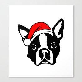 Boston Terrier Dog with Christmas Santa Hat Canvas Print