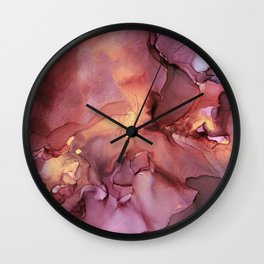 Crimson Red and Gold Flowy Ink Painting Wall Clock