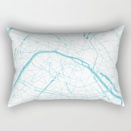 Paris France Minimal Street Map - Turquoise Blue and White Rectangular Pillow