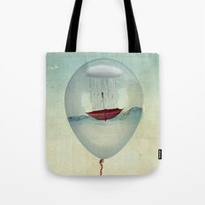 embracing the rain in a bubble Tote Bag