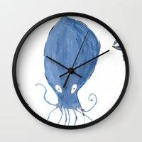 squid Wall Clocks featuring squid.  by Elvis Vazquez