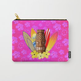 Surfboards And Tiki Mask Pink Flowers Carry-All Pouch