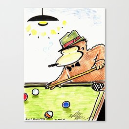 Ape Shoots Pool Canvas Print