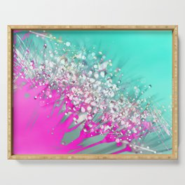 Pink and Turquoise Abstract Digital Photographic Floral Art Serving Tray