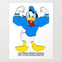 donald duck Art Prints featuring Donald Duck Lifts by VeilSide07