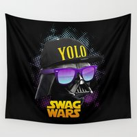 swag Wall Tapestries featuring Darth Vader Swag by Heretic