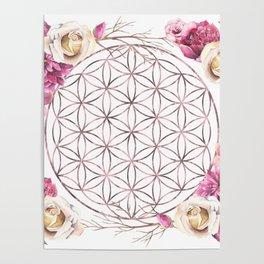 Flower of Life Rose Gold Garden Poster