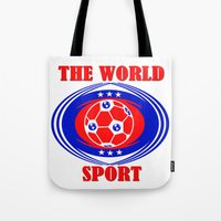 soccer Tote Bags featuring SOCCER  by Robleedesigns