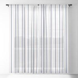 Classic Blue Baseball Stripe Lines On White Sheer Curtain