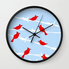 Red Cardinal Birds on Barbed wire Wall Clock