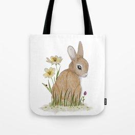 Rabbit Among the Flowers Tote Bag