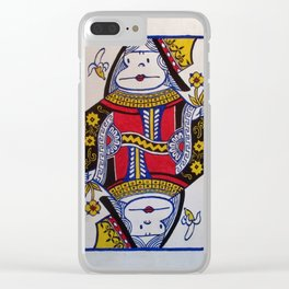 Queen of Bananas, Ape Face Card Clear iPhone Case