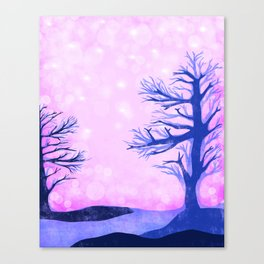 Blue ghost trees on pink speckled sky Canvas Print
