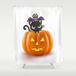 Cute Halloween Cat On Halloween Pumpkins Shower Curtain