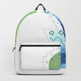 Green Cactus in Bohemian Indigo Vase Backpack