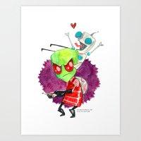 invader zim Art Prints featuring Invader Zim Hug by Super Group Hugs