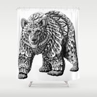ornate elephant Shower Curtains featuring Ornate Bear by BIOWORKZ