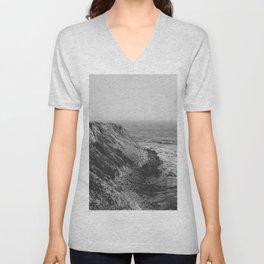 Point Vicente - California Coast - Black & White Version Unisex V-Neck