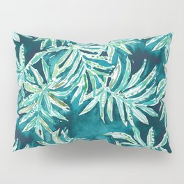 SANTA CRUZIN' Navy Tropical Palm Leaves Pillow Sham