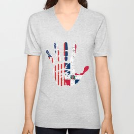 USA Dominican Republic Handprint & Flag | Proud Dominican American Heritage, Biracial American Unisex V-Neck