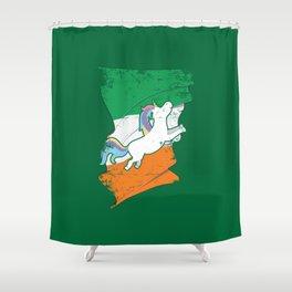 Distressed Irish Flag St Patricks Unicorn Green Shower Curtain