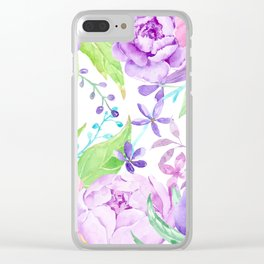 Watercolor Pink and Purple Peony Frame Clear iPhone Case