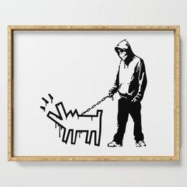 Banksy Choose Your Weapon Artwork Street Art, Design For Posters, Prints, Tshirts, Men, Women, Kids Serving Tray