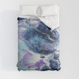 Navy Blue, Teal and Royal Purple Marble Comforters