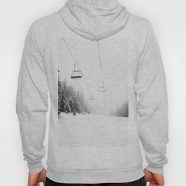Snow Lift // Ski Chair Lift Colorado Mountains Black and White Snowboarding Vibes Photography Art Print Hoody