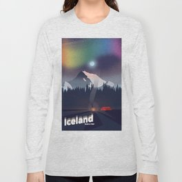 Iceland Northern lights travel poster Long Sleeve T-shirt