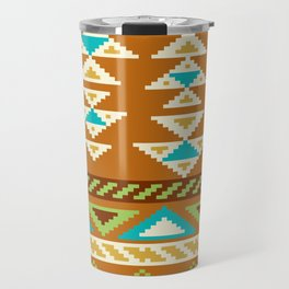 Native Aztec Brown Arrowhead Tribal Rug Pattern Travel Mug