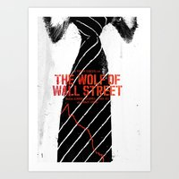 wolf of wall street Art Prints featuring The Wolf of Wall Street by Dan K Norris