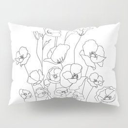 Poppy Flowers Line Art Pillow Sham