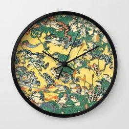 Fashionable Battle Of Frogs By Kawanabe Kyosai 1864 Wall Clock