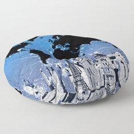 world map city skyline 8 Floor Pillow