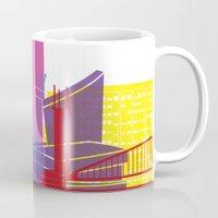 manchester Mugs featuring Manchester skyline pop by Paulrommer