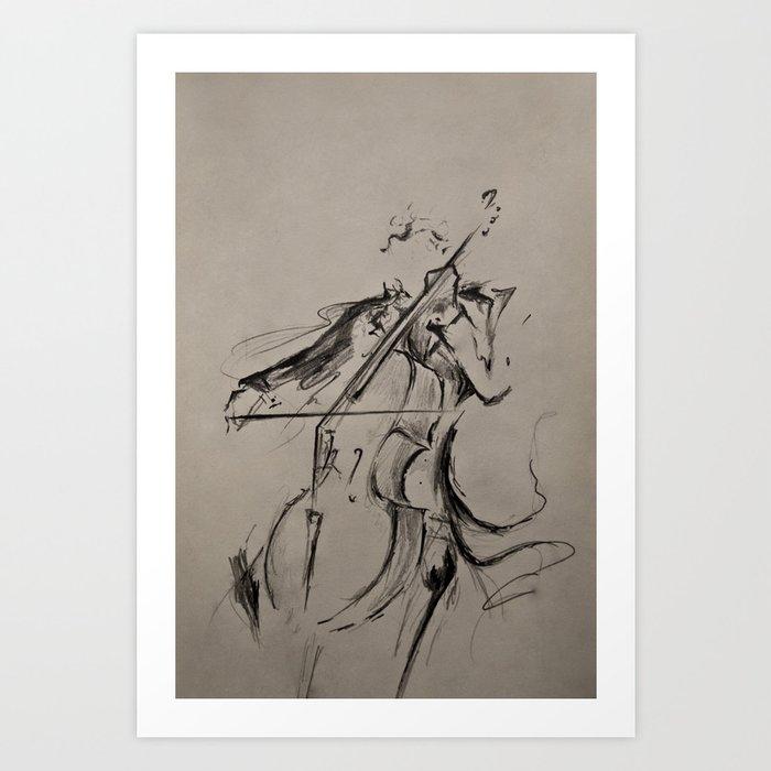 The Cellist (Sketch) Art Print